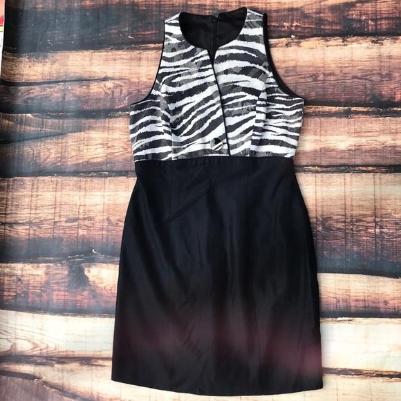 Dresses & Skirts - Vintage Zebra Print Textured Button Black Dress
